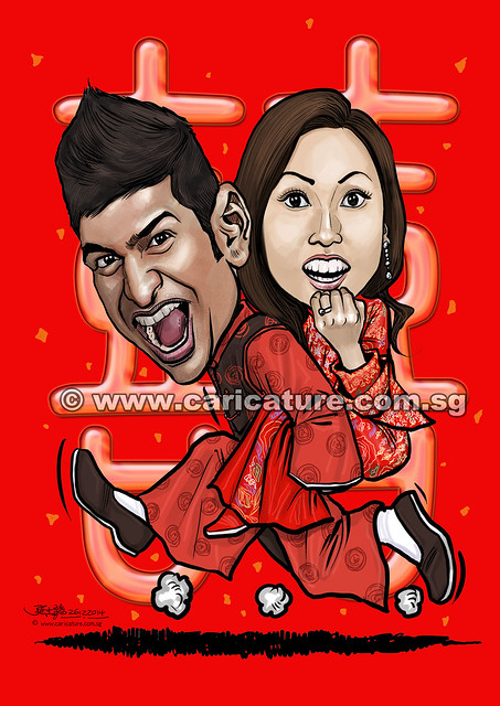 digital Chinese traditional wedding couple caricatures (watermarked)