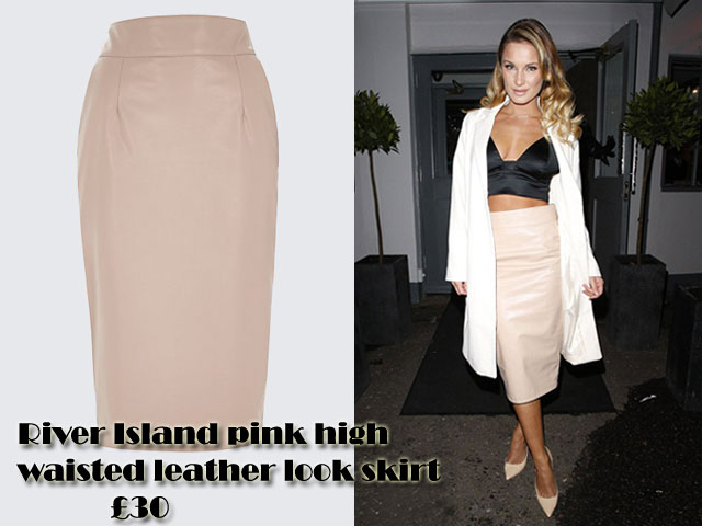 River Island pink high waisted leather look skirt with a bralet ...