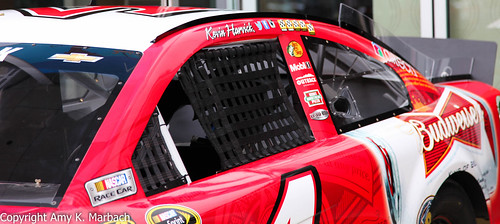 Kevin Harvick's car on display at the Linq