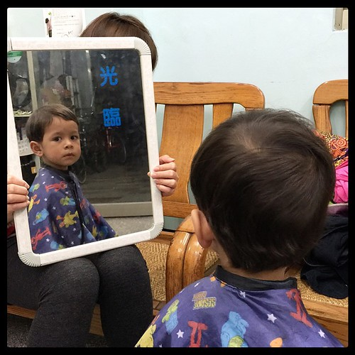 Nathan gets a haircut. #taiwan #nantou #family #台灣 #南投 #haircut