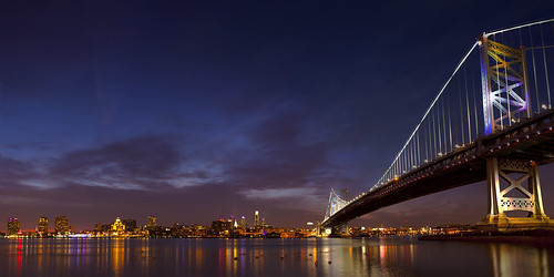 longexposure bridge blue sky color philadelphia skyline night clouds river flow newjersey cool saturated mood pennsylvania pano rich vivid panoramic nighttime manmade philly bluehour delaware benfranklin suspensionbridge longshutter