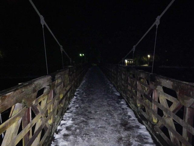 雪の天ヶ瀬吊り橋