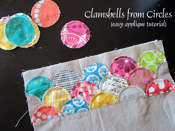 Easy applique clamshells from circles u stitched in color