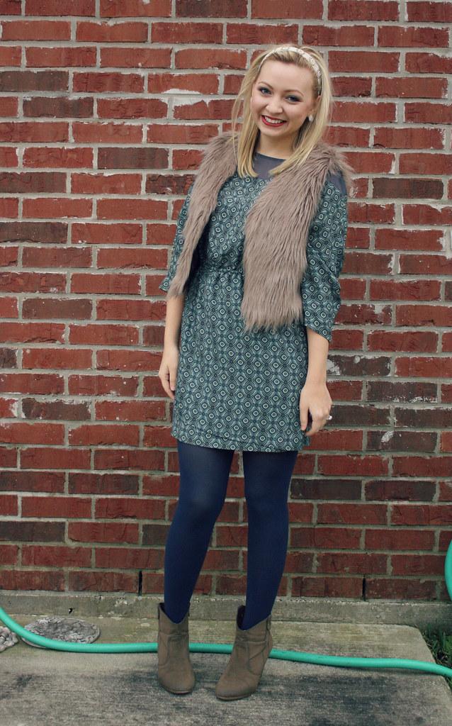 vest + dress + booties