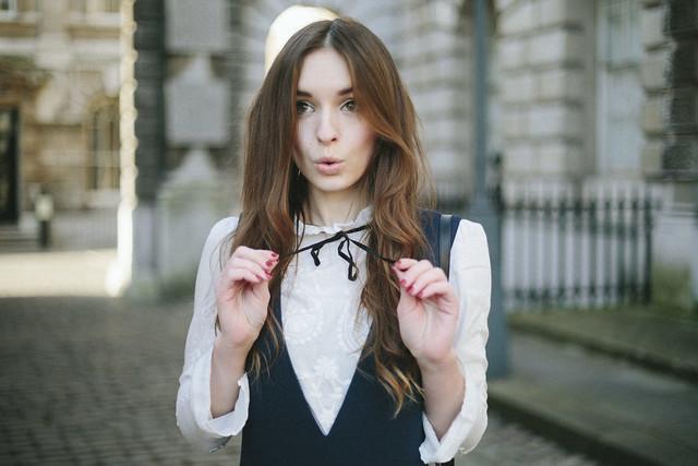 Zara Blouse Pinafore Dress What Olivia Did