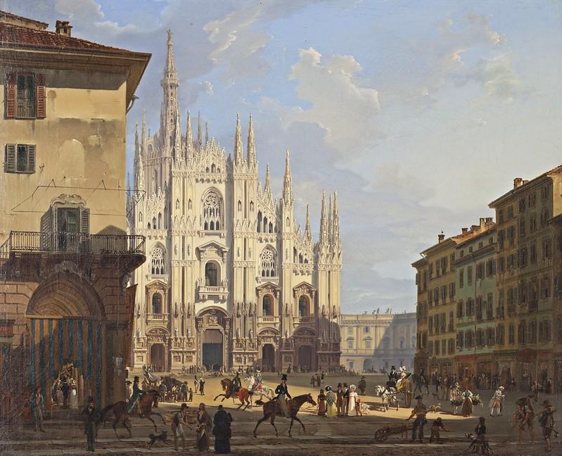 Migliara Giovanni - Veduta di piazza del Duomo in Milano