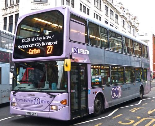 YT61 GPZ 'Nottinghham City Transport' 920 Scania N230UD Omnidekka / Optare. Dennis Basford's railsroadsrunways.blogspot.co.uk