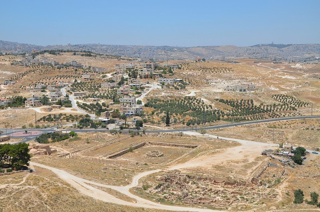Panoramic view from the top of the hill towards Bethlehem, Upper Herodium, Israel
