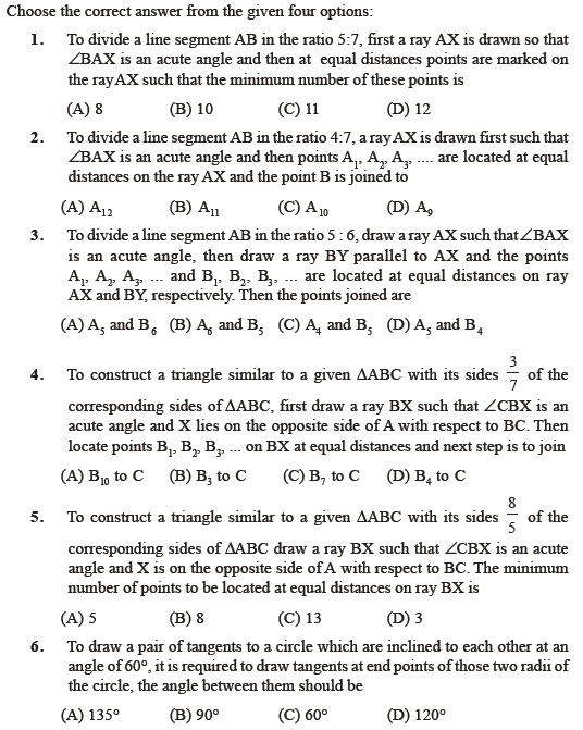 Class 10 Important Questions for Maths – Constructions