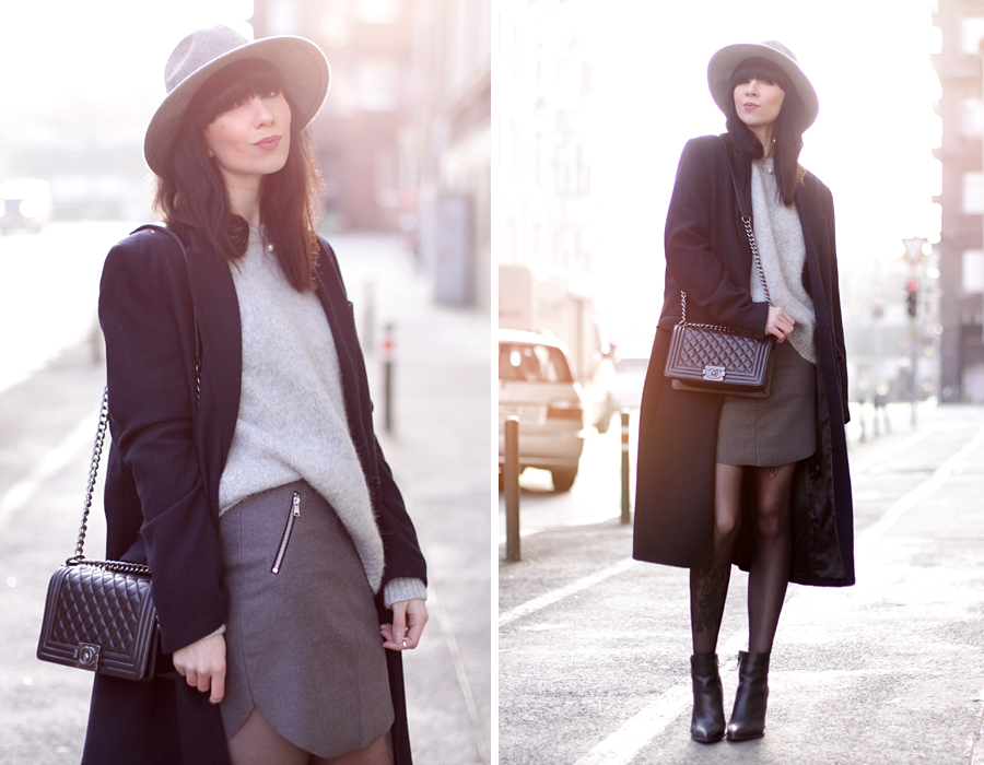 knitwear grey oversize coat h&m skirt hat heels chanel le boy bag ootd outfit styling fashionblogger germany modeblogger mädchen cool modemädchen ricarda schernus cats & dogs 6