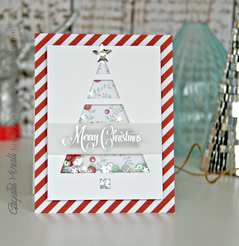 red striped merry christmas card