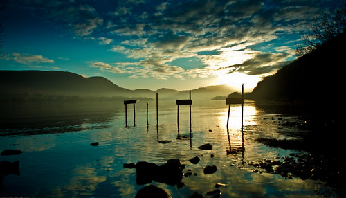 sunset silhouette clouds reflections lakes lakedistrict ullswater