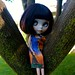 Gertie in the tree in her A Green Cat dress! by Rosiee Gelutie