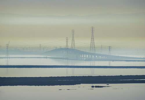 california bridge winter color water silhouette reflections bay smog haze nikon view over january fremont powerlines southbay d800 dumbartonbridge 2015