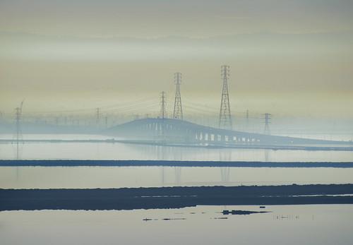 california bridge winter color water silhouette reflections bay smog haze nikon view over january fremont powerlines southbay d800 dumbartonbridge 2015