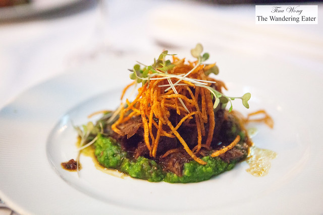 Braised beef short ribs, Anson Mills grits, horseradish, shoe string potatoes