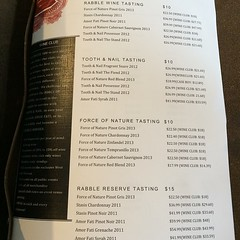 Opening day @toothandnailwinery menu. I'm doin' the Rabble tasting