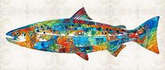 Fish Art Print - Colorful Salmon - By Sharon Cummi…