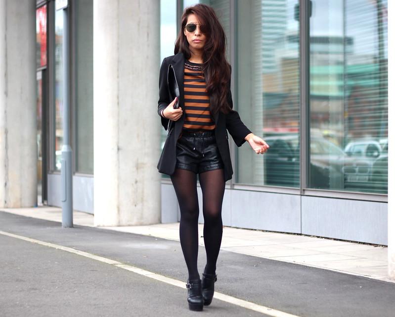 Article 21 Uk Fashion & Style Blog, Orange Striped Top, Black and Orange Stripes, What to Wear for Work, Leather Shorts, Black Blazer, Black Aviators, Long Hair, uk fashion blogger, top uk blogs, best uk fashion blogs, british fashion blogs, uk chinese blogger, manchester fashion blogger