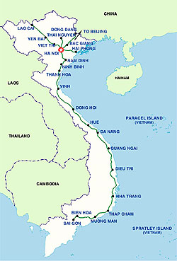 Mapa de trenes en Vietnam