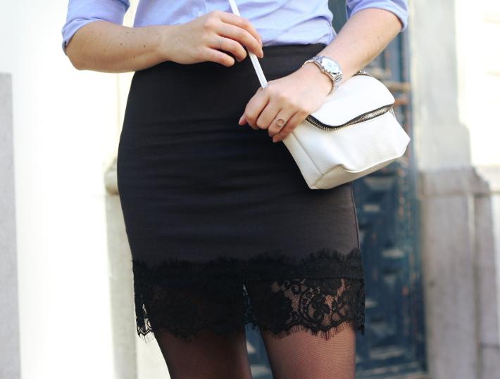 lace slip skirt, cross body bag