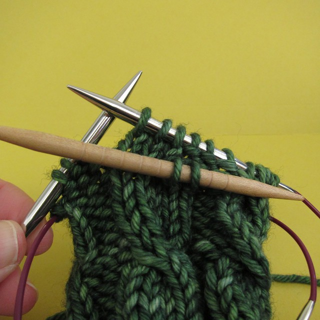 Cable step 2: Knit next 3 stitches from left hand needle