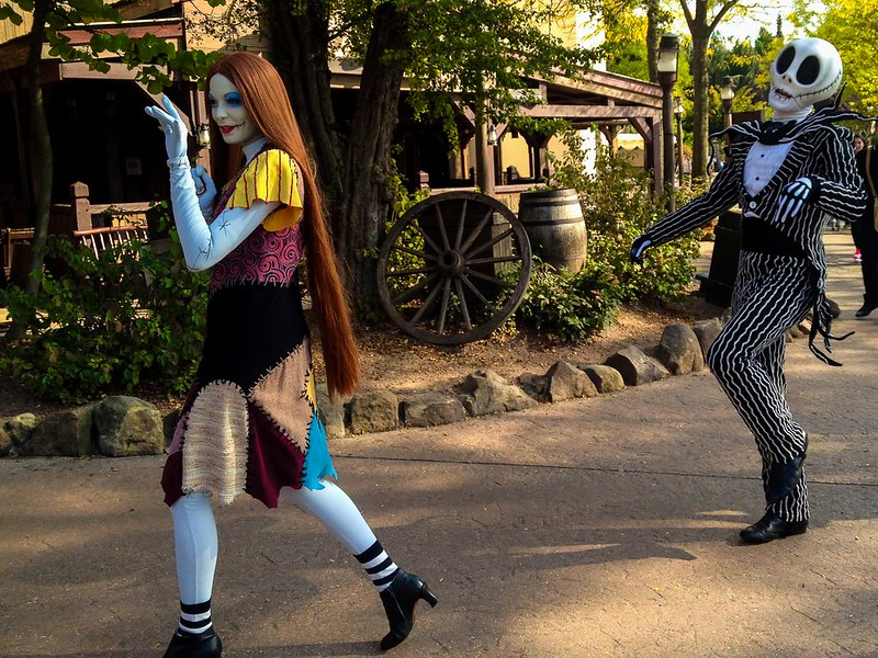 Jack Skellington and Sally Characters in Disneyland