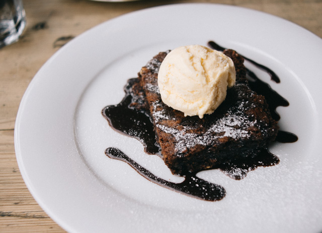 chocolate brownie and ice cream
