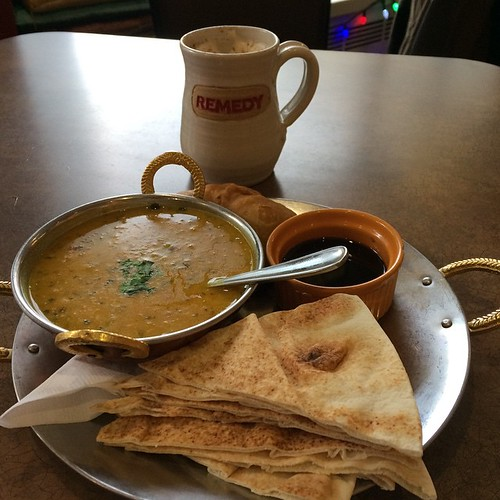 Samosas, Chai, and Dahl at Remedy. #yegfood