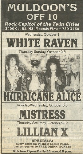10/02-05/86 Hurricane Alice @ Muldoon's Off 100, Mounds View, MN