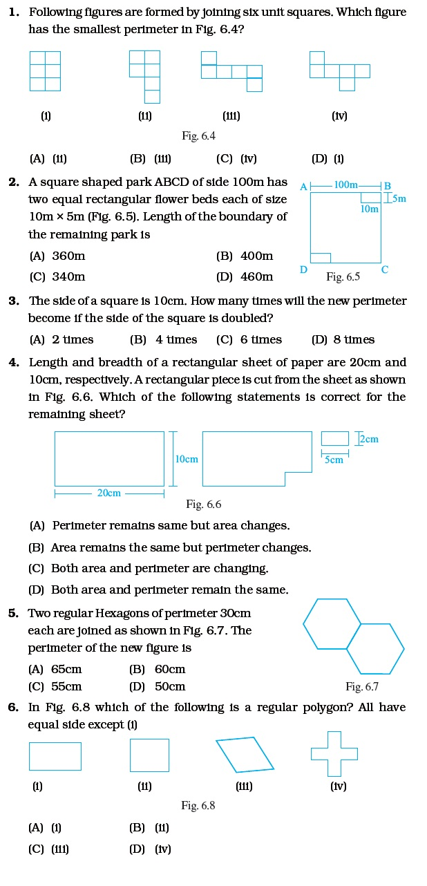 Class 6 Important Questions for Maths u2013 Mensuration ...