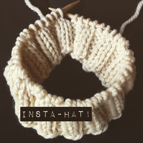Insta-hat pattern part 2 #leethalinstahat :  Work one last k2 in established ribbing pattern, then begin new repeat pattern.    [Yo, p2, k2tog] around for 2-3 inches / 5-8 cm.   (Pictured is part 1.)