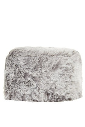 topshop luxe faux fur cossack grey