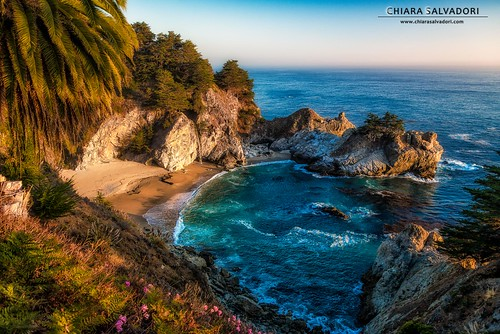 ocean california travel flowers blue sunset wild cliff usa sun seascape west fall beach nature water colors america landscape rocks unitedstates sundown bigsur pacificocean journey traveling centralcoast westcoast autofocus juliapfeifferburnsstatepark wawe