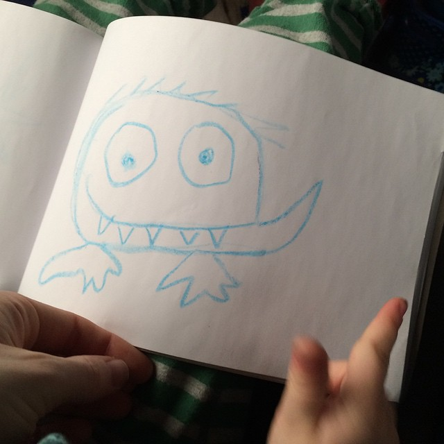 Collaborative monster-drawing on the train. #winterbreak2014