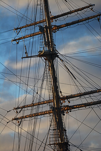 morning light on mast and yards
