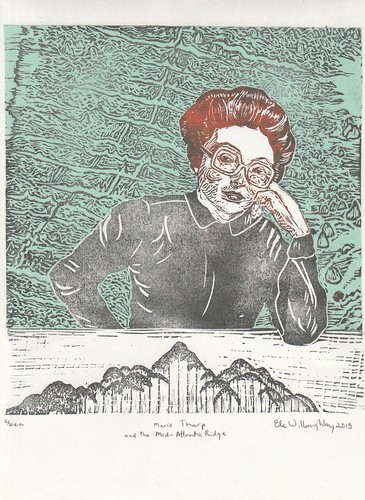 Marie Tharp and the Mid-Atlantic Ridge Linocut