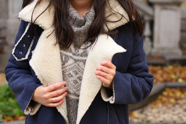 shearling jacket outfit