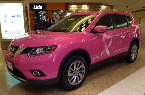 Breast Cancer Awareness Pink Nissan Car on Display at West Farms Mall