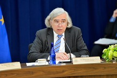 U.S. Secretary of Energy Dr. Ernest Moniz addresses the seventh U.S.-EU Energy Council meeting on May 4, 2016, at the U.S. Department of State in Washington, D.C. [State Department photo/ Public Domain]