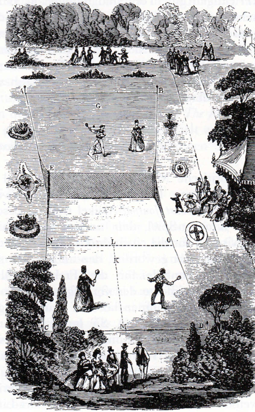 Drawing of a Lawn Tennis court as originally designed by Walter Clopton Wingfield in 1874.