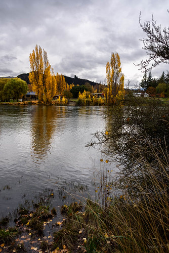 road autumn trees houses newzealand sky water clouds reflections river hills autumncolours southisland centralotago alberttown cluthariver tripdownsouth