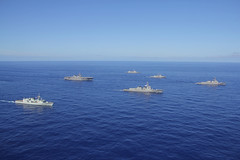 Ships from five nations steam in formation in the Pacific Ocean Aug. 9 as part of a multilateral exercise. (U.S. Navy photo)