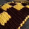 #Wyoming University brown & yellow  #checkerboard. Gotta love commissions! #doubleknit #scarf #knitting #knitstagram #firebrunetteknits