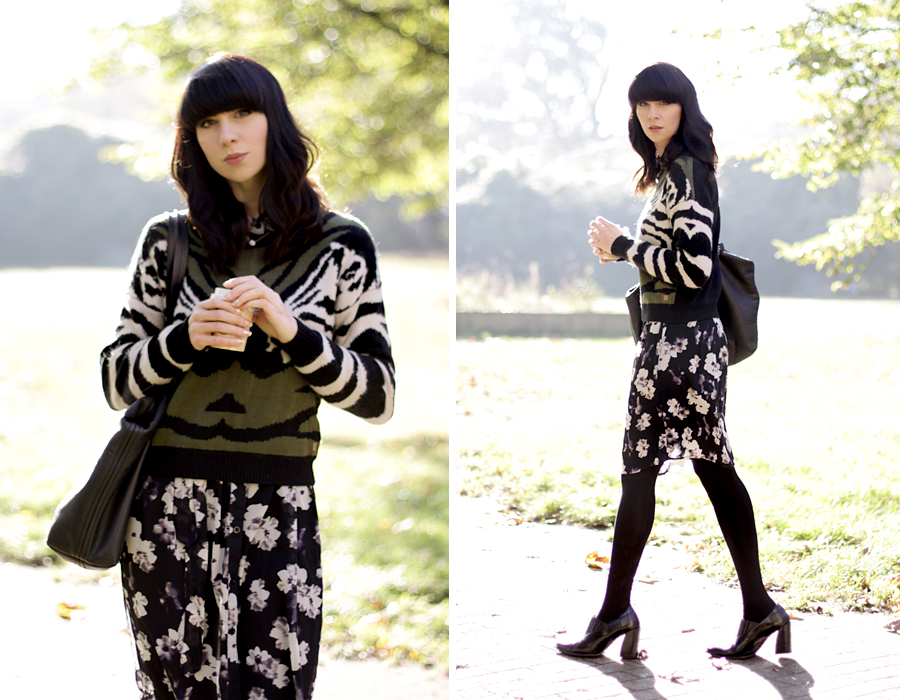 Numph pullover floral skirt oufit autumn fal look lookbook ootd style blogger ricarda schernus cats & dogs 5