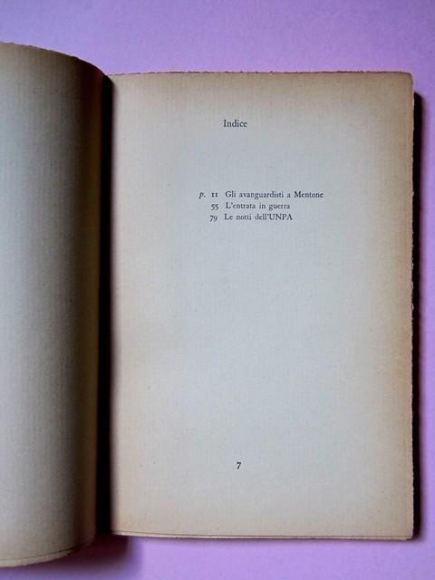 L'entrata in guerra, di Italo Calvino. Einaudi 1954. [Progetto grafico di Albe Steiner]. Verso della pagina del frontespizio, pagina dell'Indice (part.), 1
