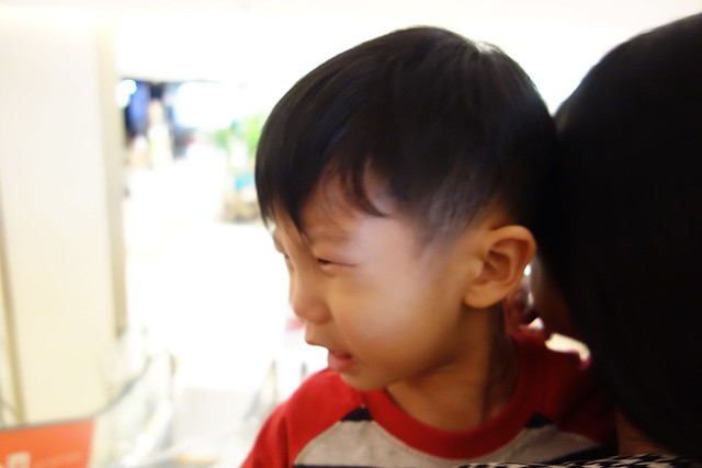 Crying Jerry, upset that we are leaving KidZania.
