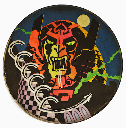 Hawkwind drumhead designed by Barney Bubbles 1972