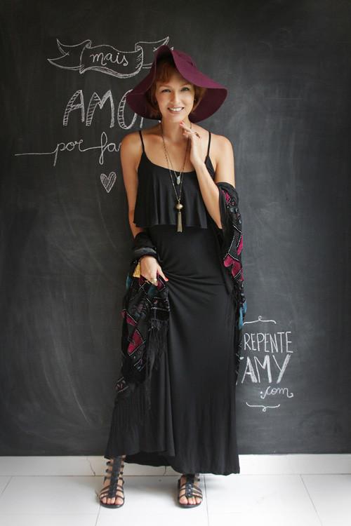 quimono e vestido longo