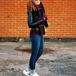 Autumn style: Dark tartan scarf and black biker jacket